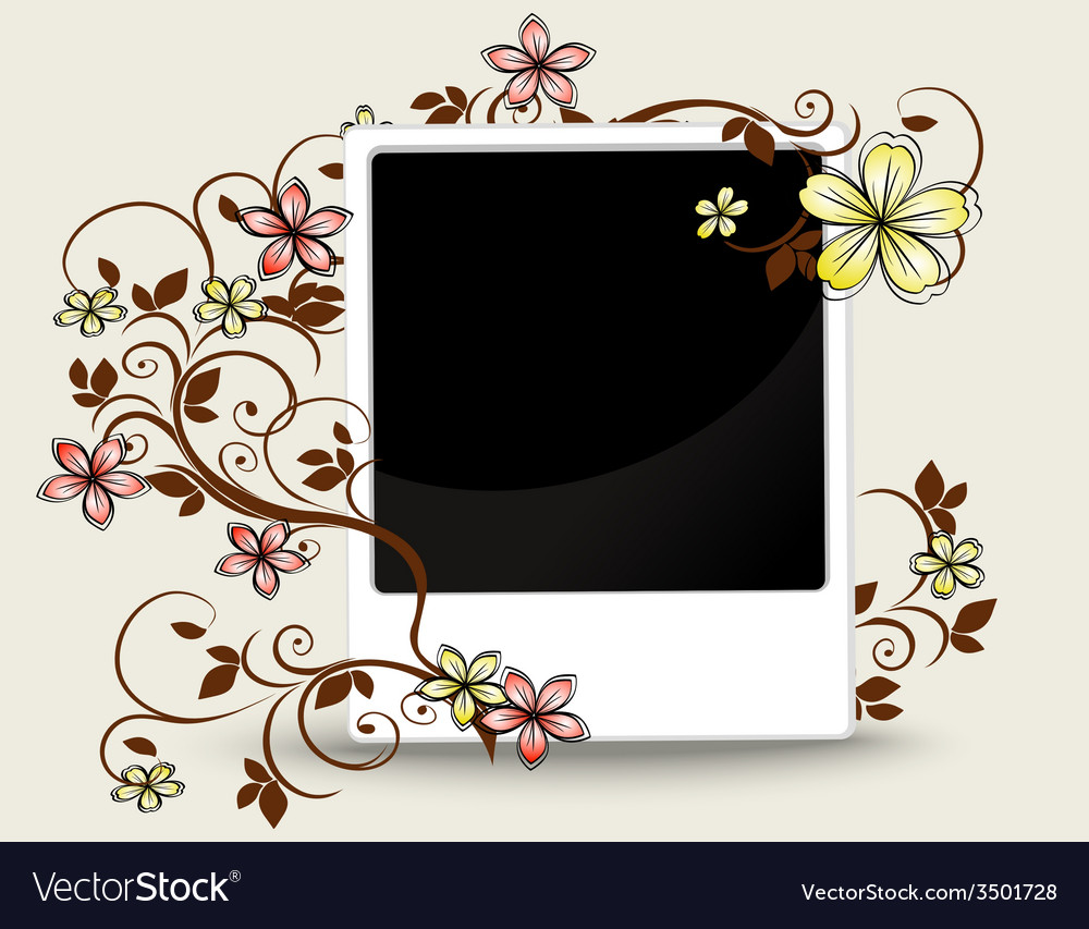 Old photograph with floral ornament vector | Price: 1 Credit (USD $1)