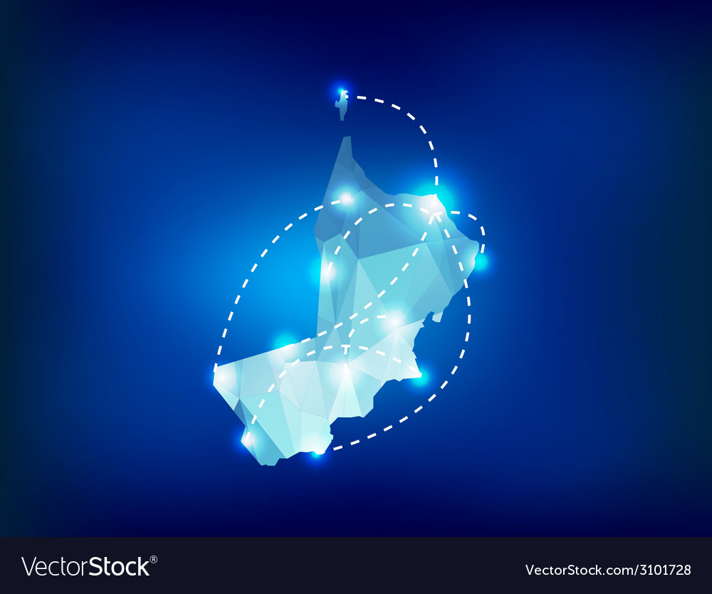Oman country map polygonal with spot lights places vector | Price: 1 Credit (USD $1)