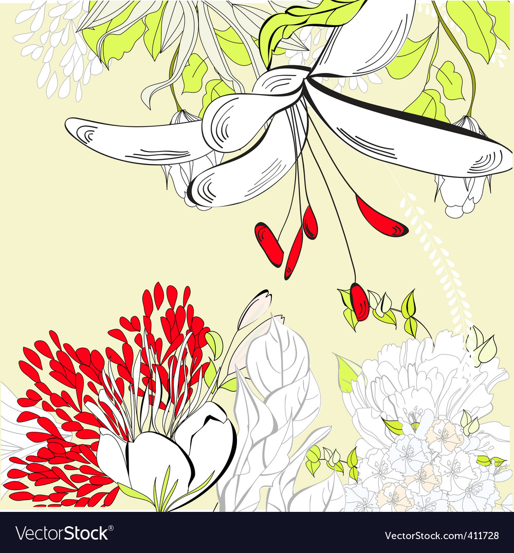 Spring floral card vector | Price: 1 Credit (USD $1)