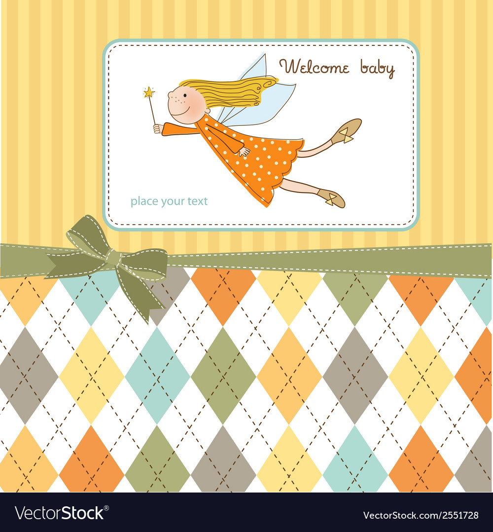 Welcome baby girl card with little fairy vector | Price: 1 Credit (USD $1)