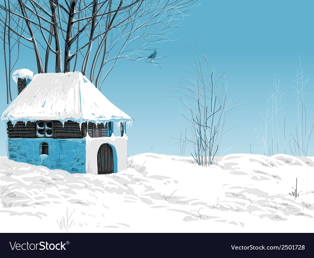 Winter snowy landscape vector | Price: 1 Credit (USD $1)