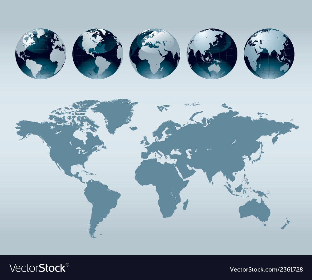 World globe maps vector | Price: 1 Credit (USD $1)