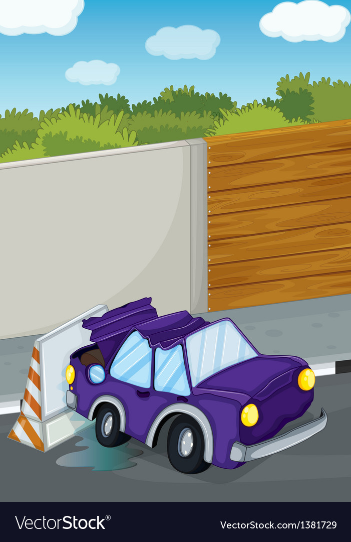 A violet car bumping the wall vector | Price: 1 Credit (USD $1)