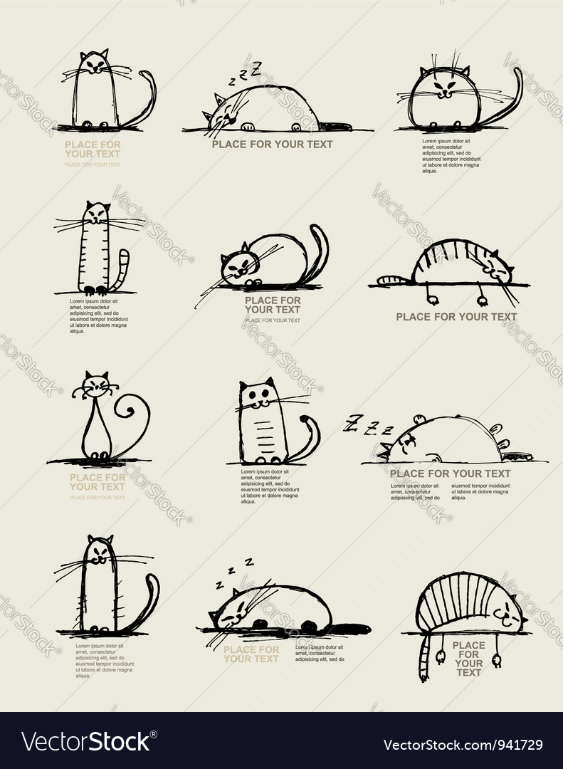 Cats sketch set2 vector | Price: 1 Credit (USD $1)