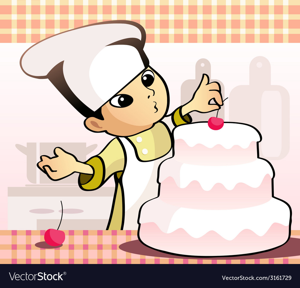 Confectioner baking a cake vector | Price: 1 Credit (USD $1)