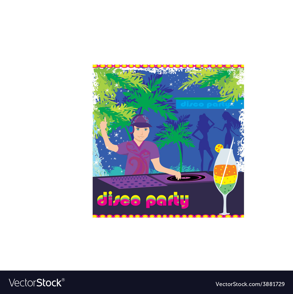 Dj and girls dancing at a party vector | Price: 1 Credit (USD $1)