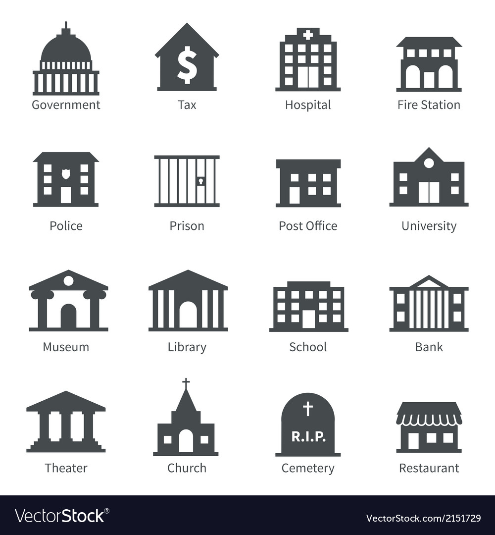 Government buildings icons vector | Price: 3 Credit (USD $3)