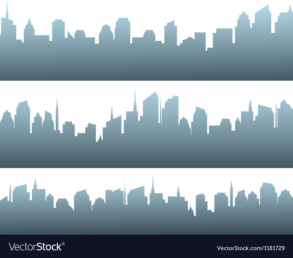 Set of city silhouette with sunrise vector | Price: 1 Credit (USD $1)