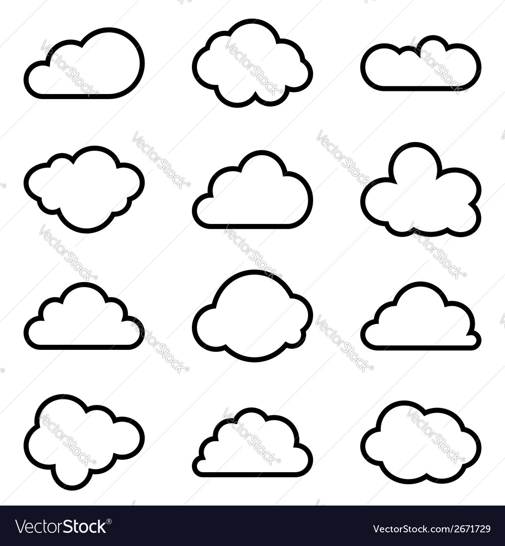 Set of twelve different shapes of clouds vector | Price: 1 Credit (USD $1)