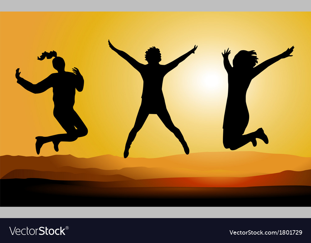 Silhouette of happy jumping people vector | Price: 1 Credit (USD $1)