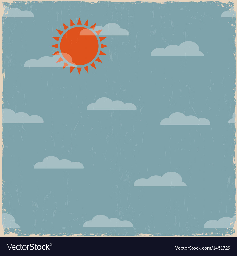 Sky with clouds and sun vector | Price: 1 Credit (USD $1)