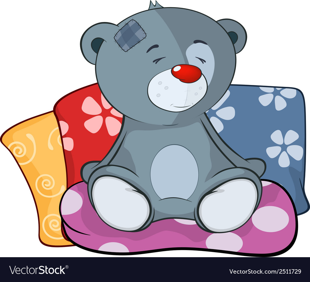 The stuffed toy bear cub and pillows cartoon vector | Price: 1 Credit (USD $1)