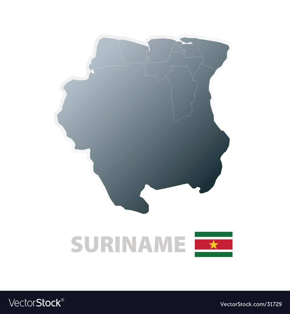 Suriname map with official flag vector | Price: 1 Credit (USD $1)