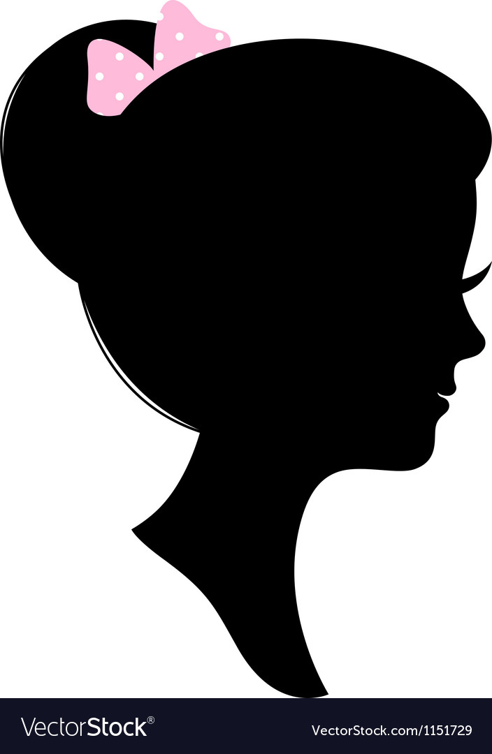Vintage woman head silhouette isolated on white vector | Price: 1 Credit (USD $1)