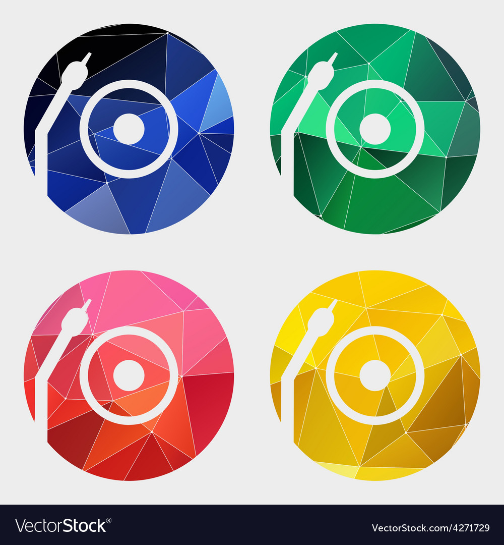 Vinyl turntable icon abstract triangle vector | Price: 1 Credit (USD $1)