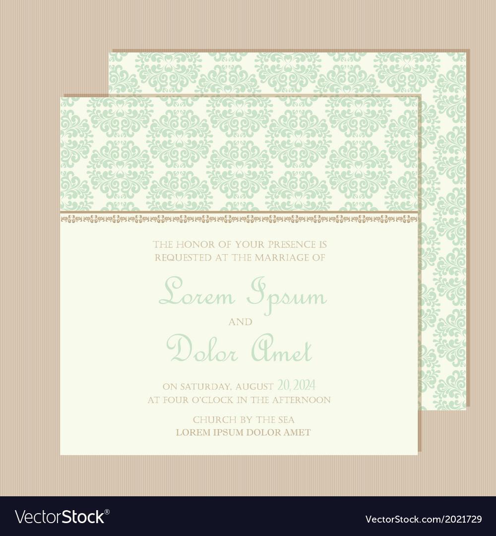 Wedding vintage invitation card vector | Price: 1 Credit (USD $1)