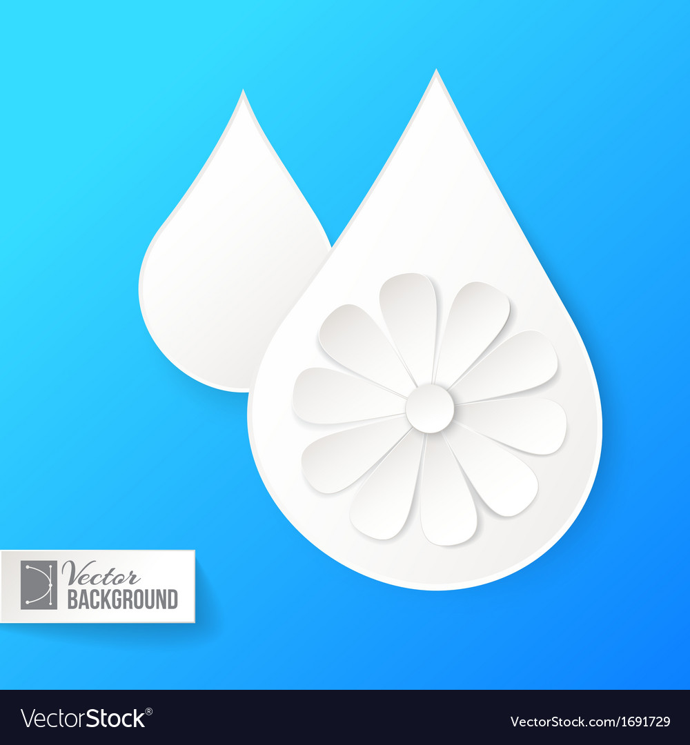 White paper drop and flower vector | Price: 1 Credit (USD $1)