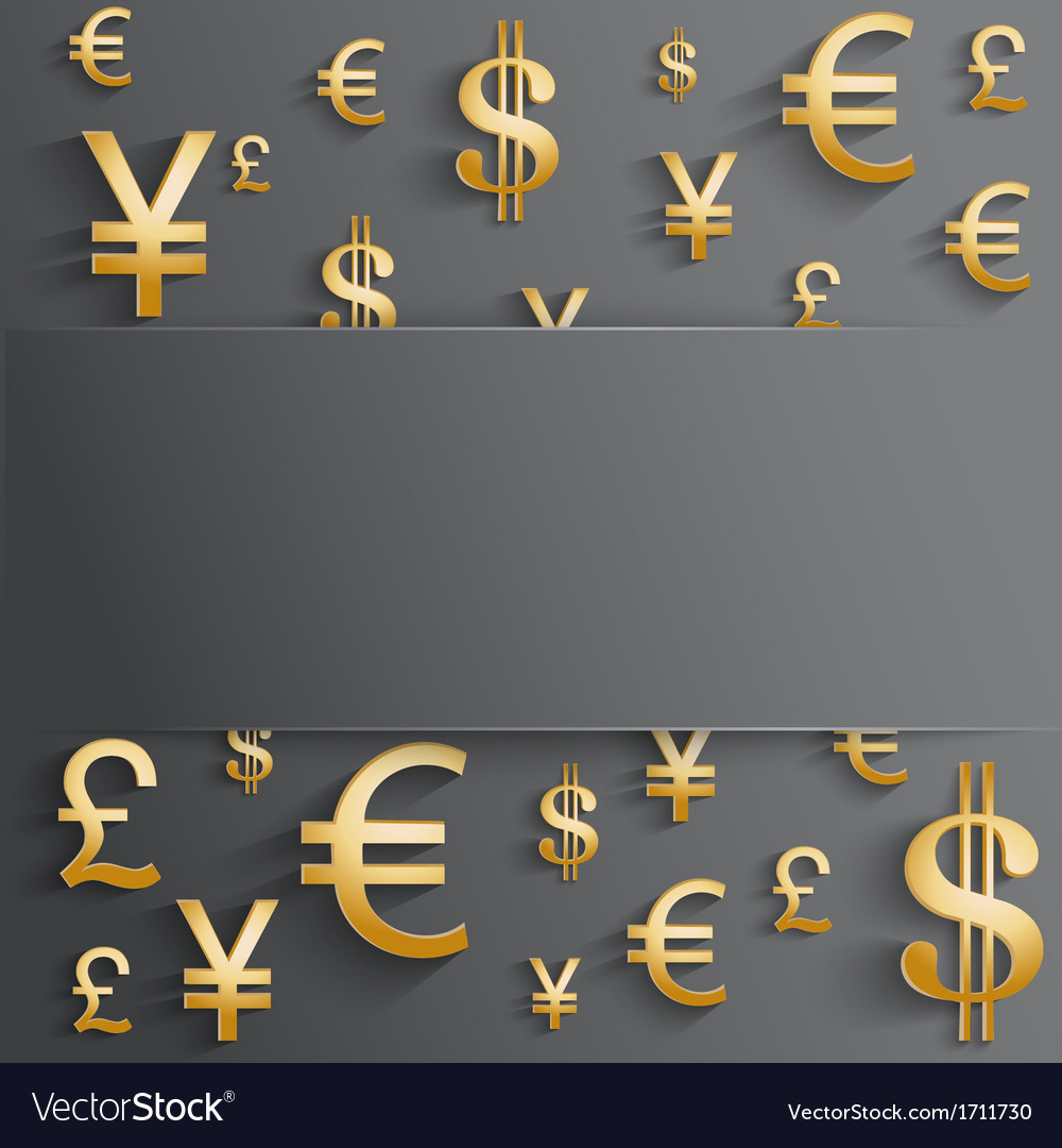 Business background with various gold money symbol vector | Price: 1 Credit (USD $1)