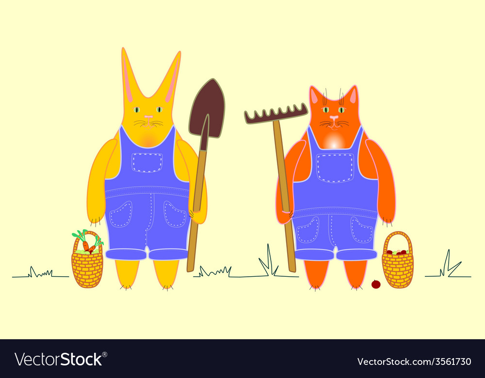 Cat and rabbit on farm vector | Price: 1 Credit (USD $1)