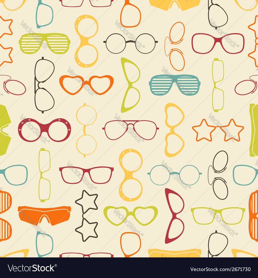 Colorful sunglasses and glasses seamless pattern vector | Price: 1 Credit (USD $1)