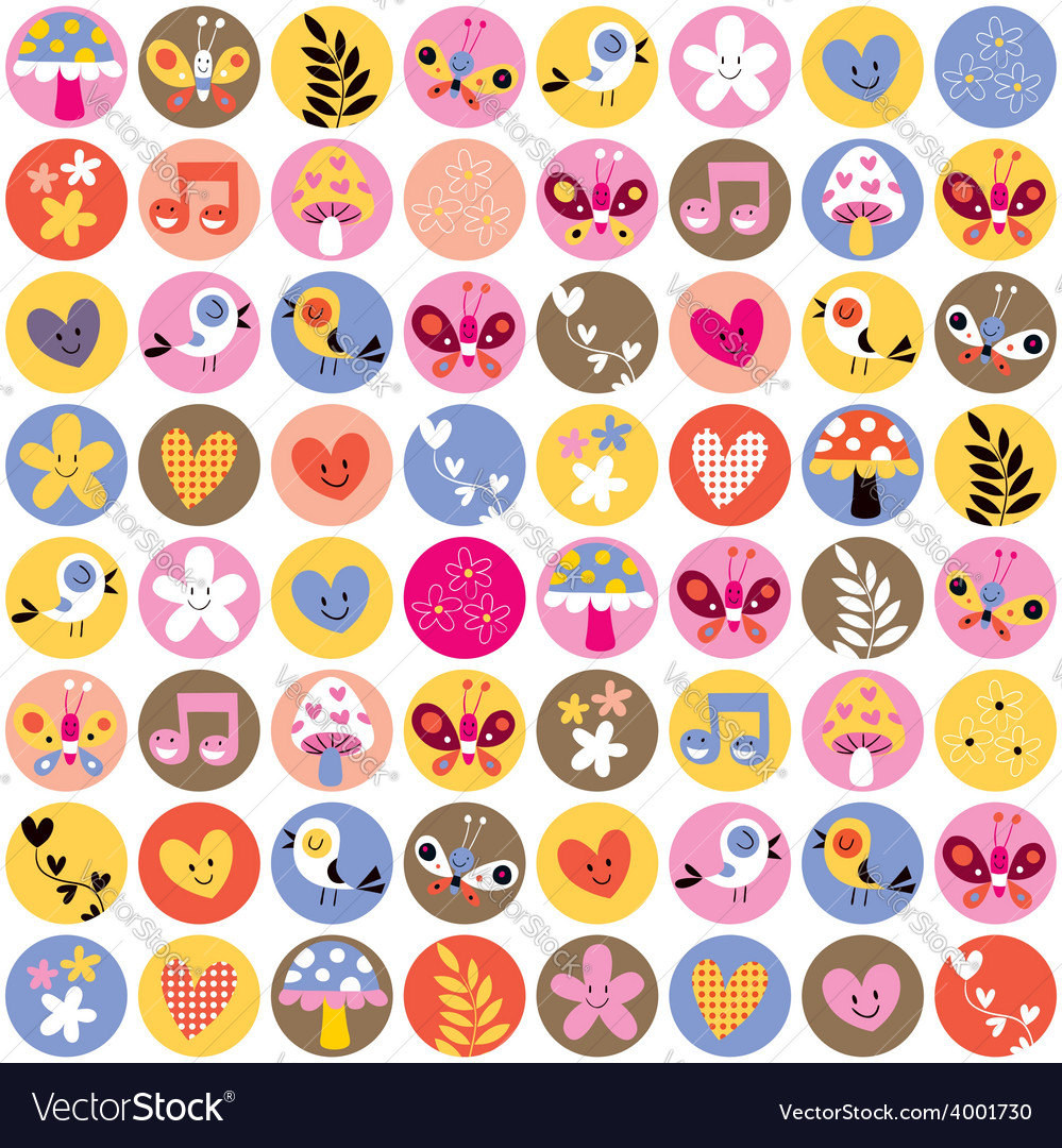 Cute flowers birds hearts pattern vector | Price: 1 Credit (USD $1)