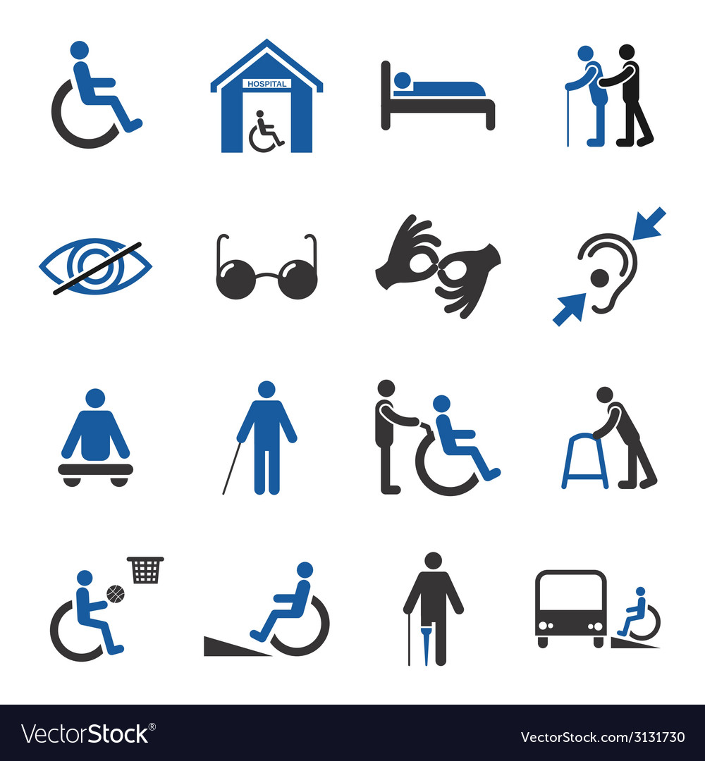 Disabled icons set vector | Price: 1 Credit (USD $1)