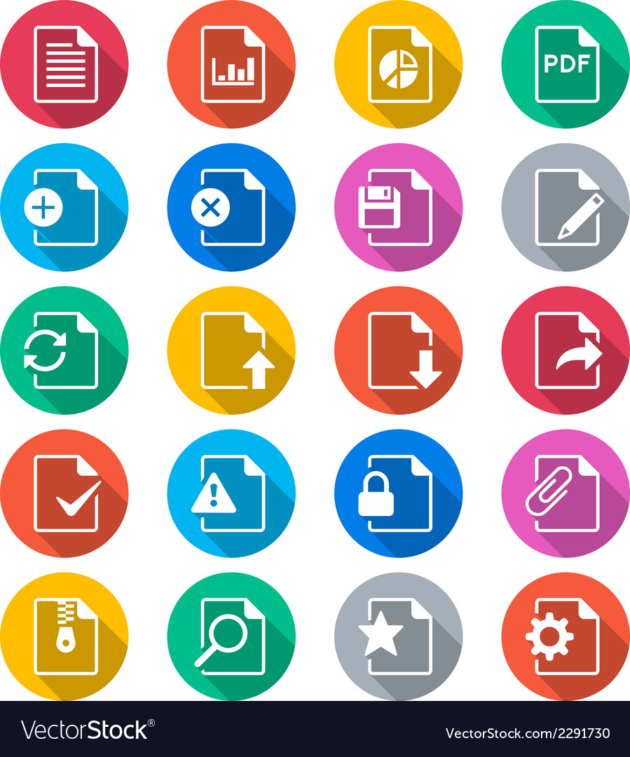 Document flat color icons vector | Price: 1 Credit (USD $1)