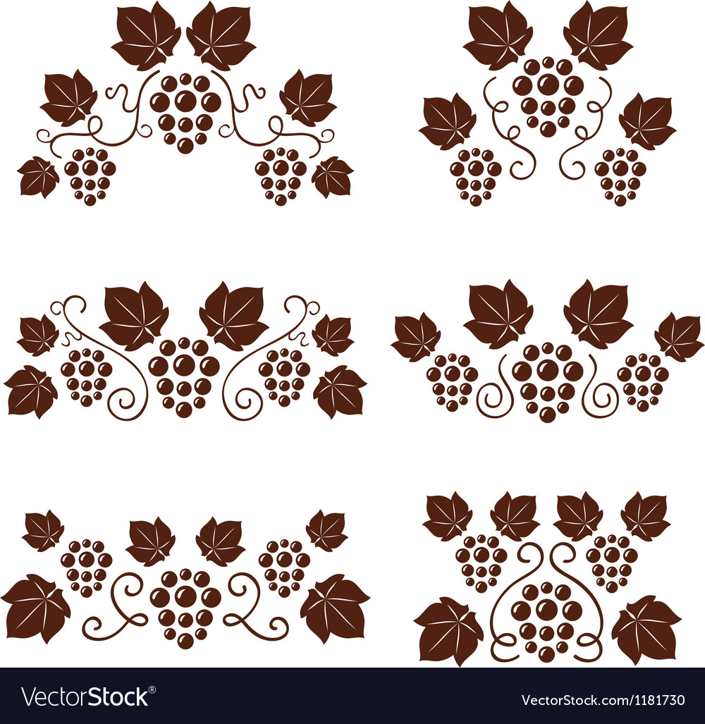 Grape vine ornate silhouettes set vector | Price: 1 Credit (USD $1)