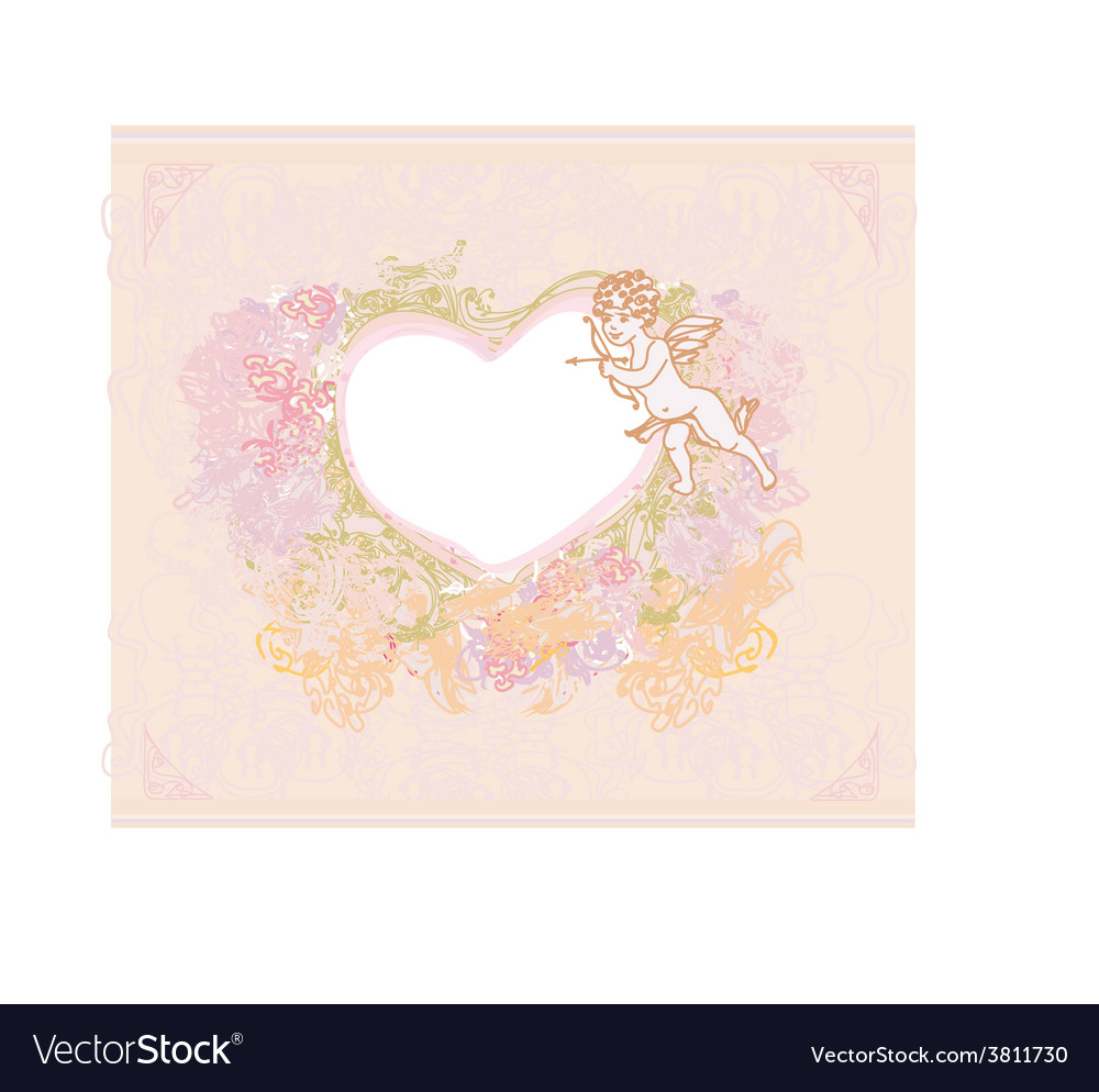 Happy valentines day card with cupid vector | Price: 1 Credit (USD $1)