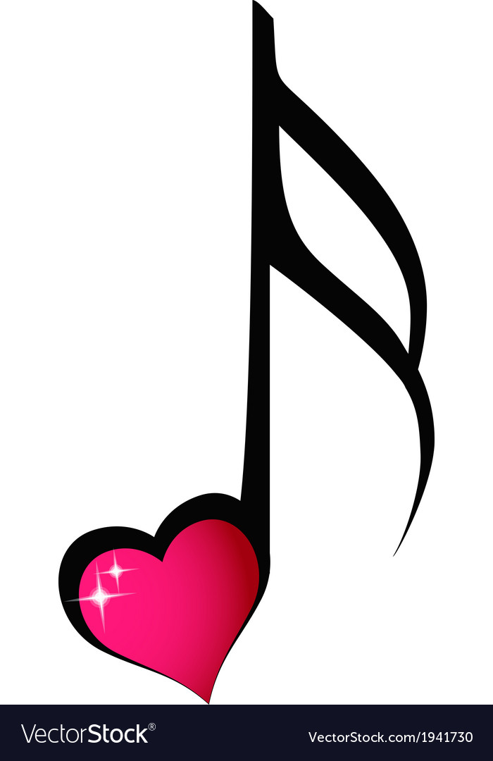 Music note with shiny heart vector | Price: 1 Credit (USD $1)