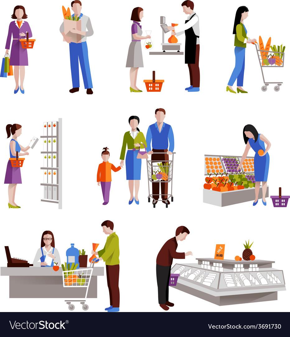 People in supermarket vector | Price: 1 Credit (USD $1)