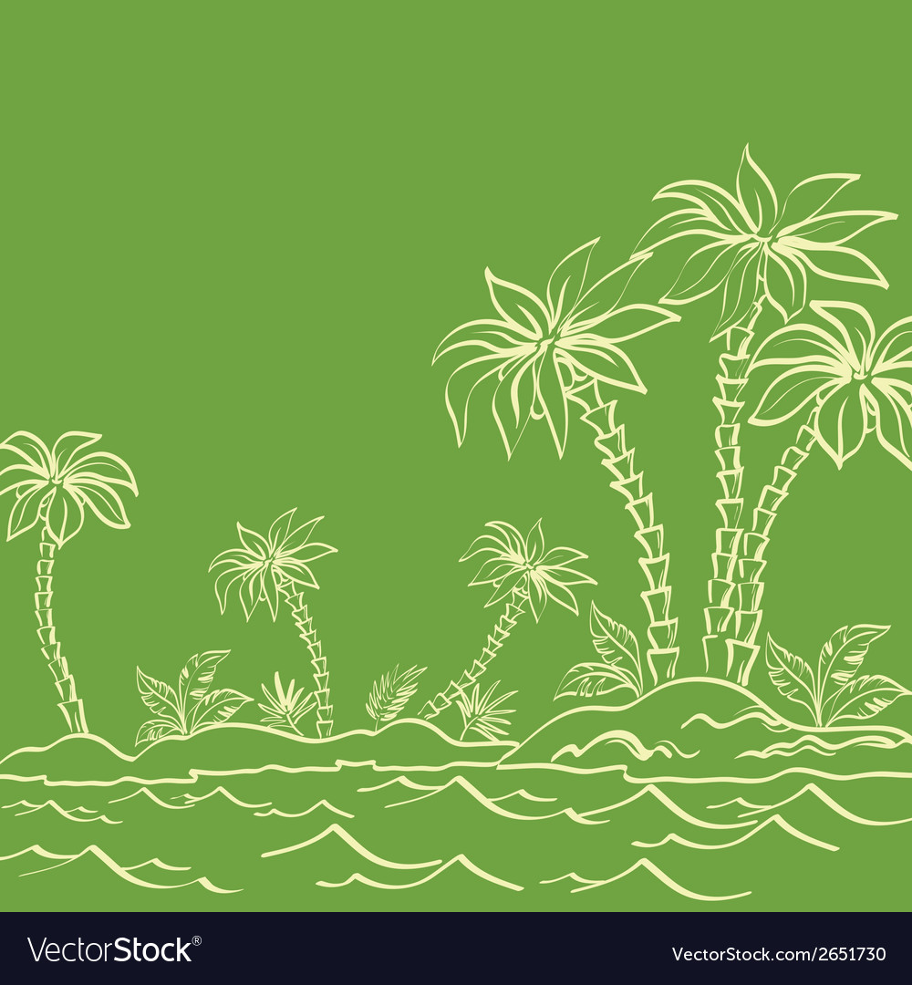 Sea island with palm trees contours on green vector | Price: 1 Credit (USD $1)