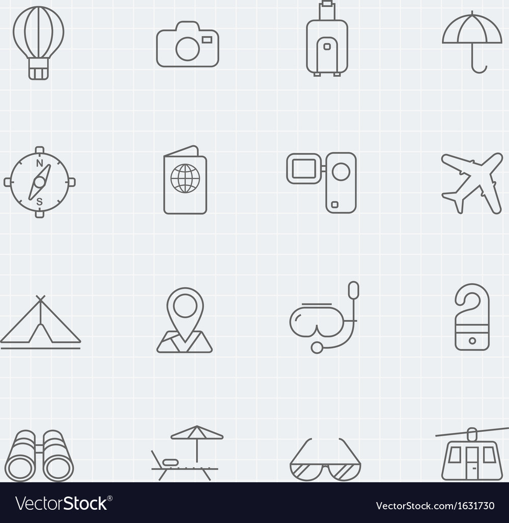 Travel and holiday thin symbol line icon vector | Price: 1 Credit (USD $1)