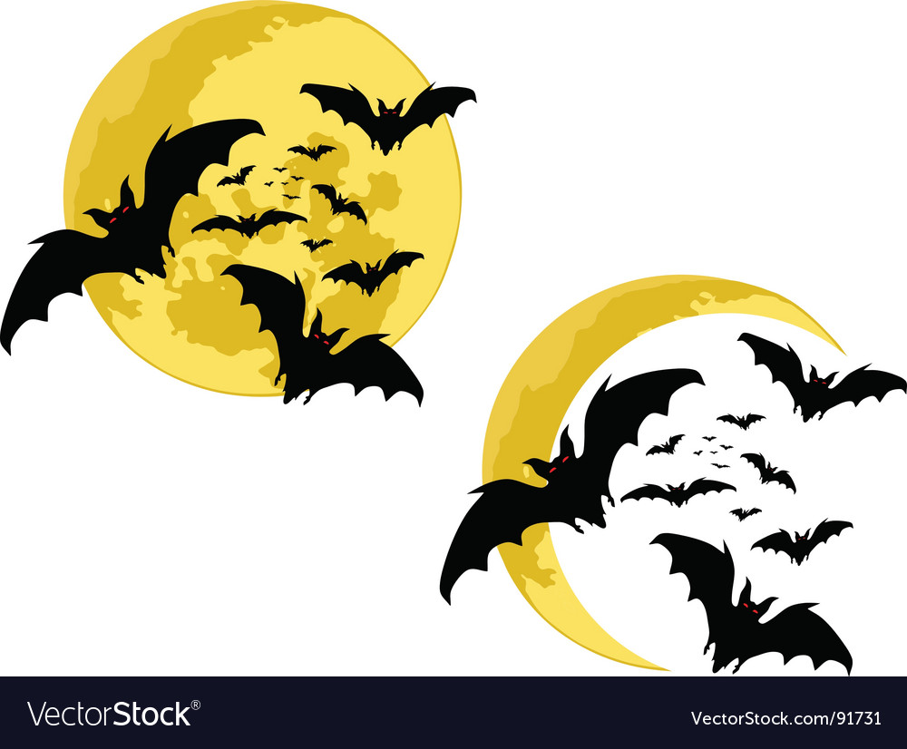 Bats moon vector | Price: 1 Credit (USD $1)