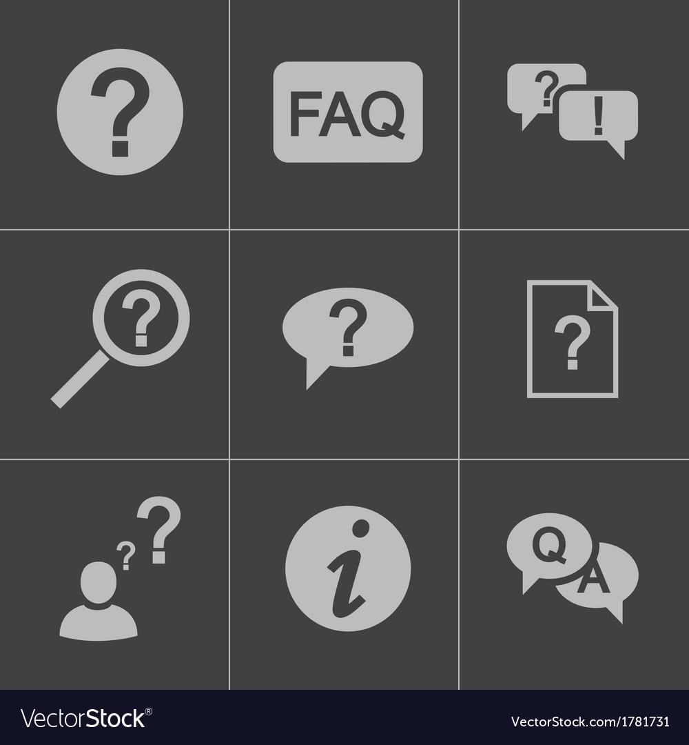 Black faq icons set vector | Price: 1 Credit (USD $1)