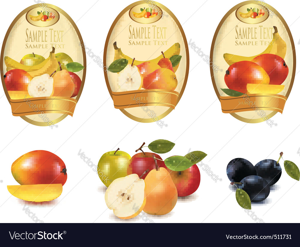 Labels with fruit vector | Price: 3 Credit (USD $3)