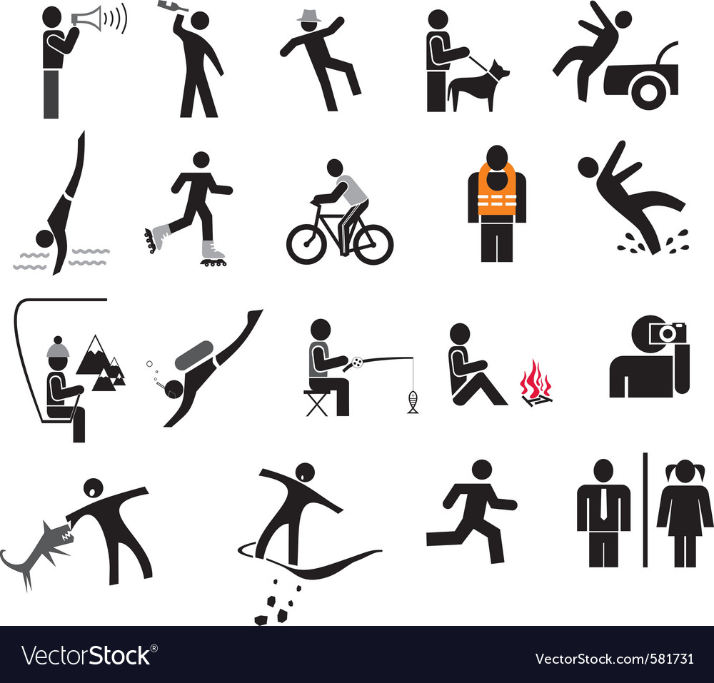 People in action icons vector | Price: 1 Credit (USD $1)