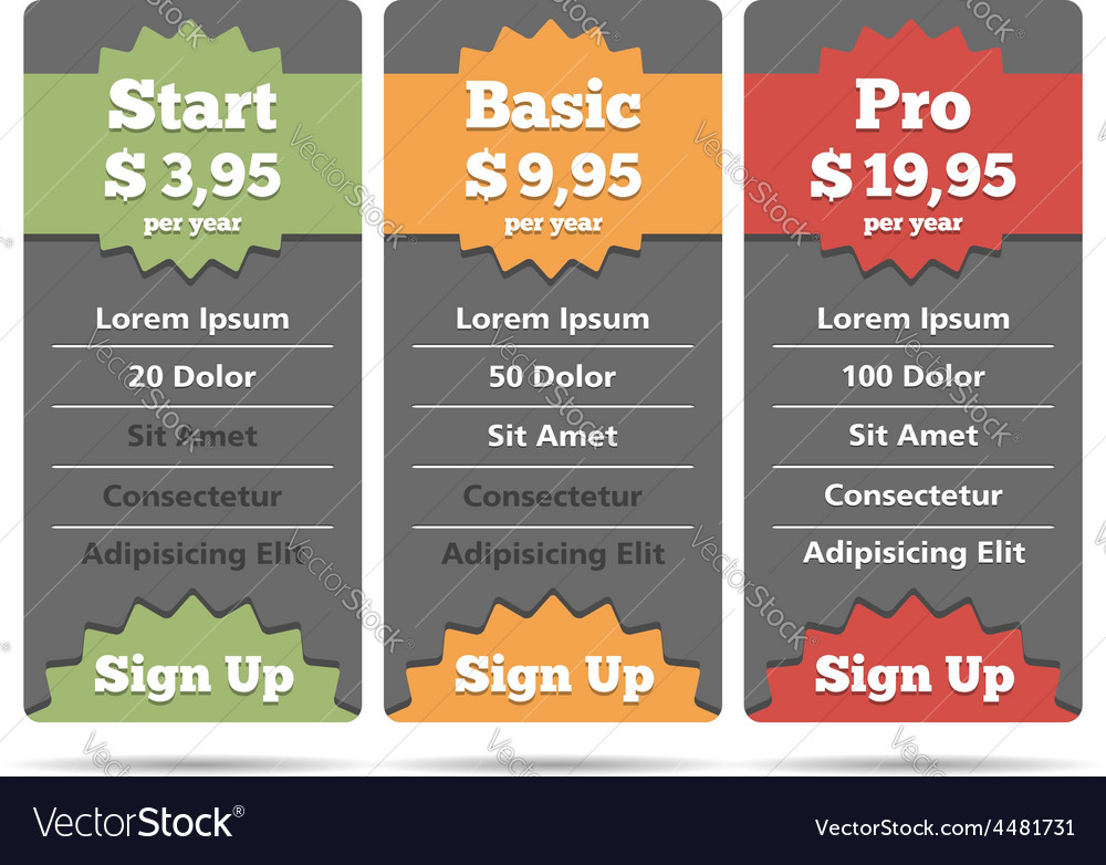Pricing table vector | Price: 1 Credit (USD $1)