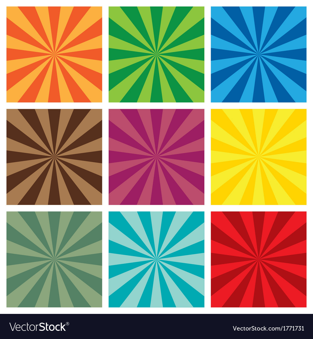 Set of sun sunburst retro pattern vector | Price: 1 Credit (USD $1)