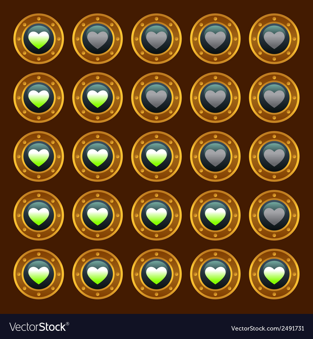Steam punk game web rating hearts set vector | Price: 1 Credit (USD $1)