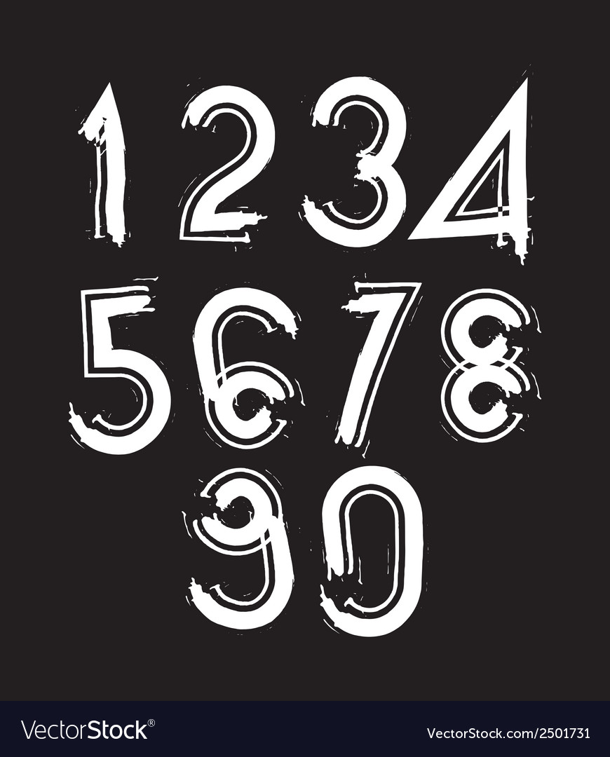 White handwritten numbers doodle brushed figures vector | Price: 1 Credit (USD $1)