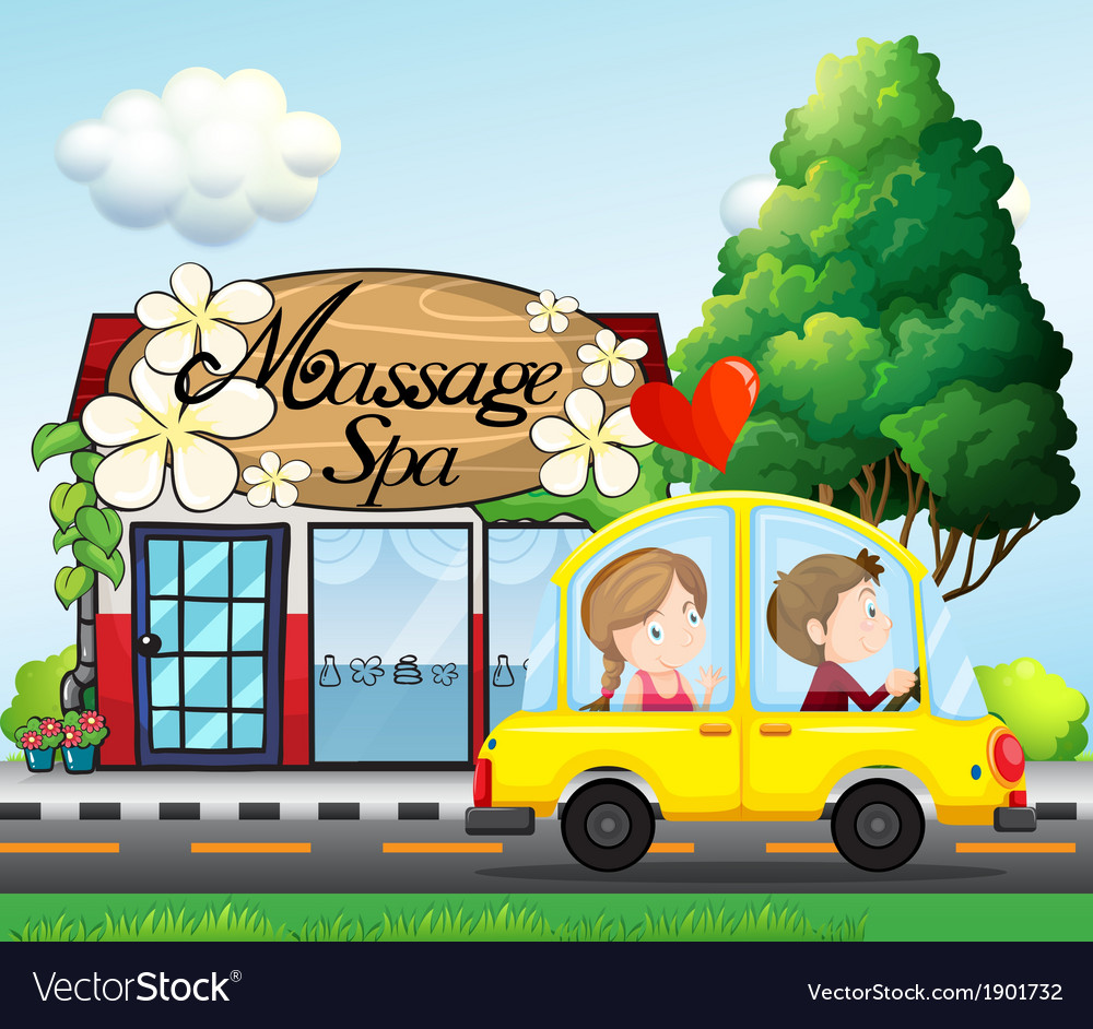 A couple riding in a car near the massage spa vector | Price: 3 Credit (USD $3)