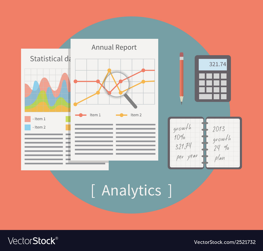 Analytic  business template with charts and graphs vector | Price: 1 Credit (USD $1)