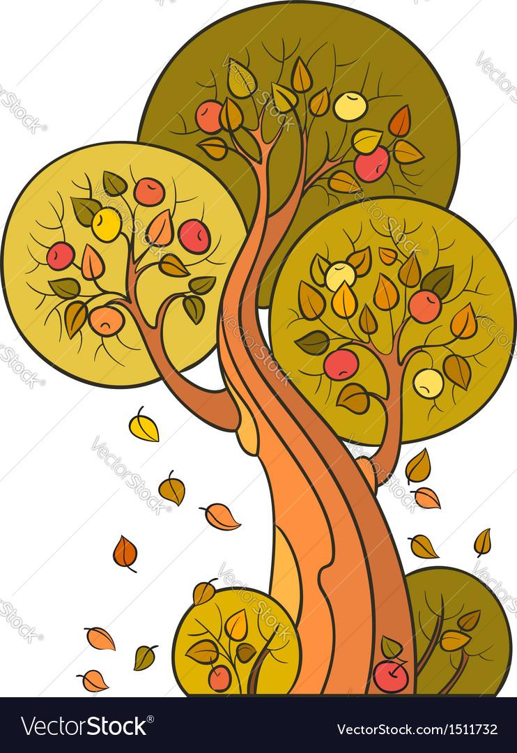 Autumn apple tree in decorative style vector | Price: 1 Credit (USD $1)