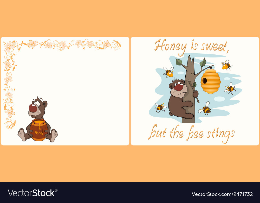 Bear and bees postcard cartoon vector | Price: 1 Credit (USD $1)
