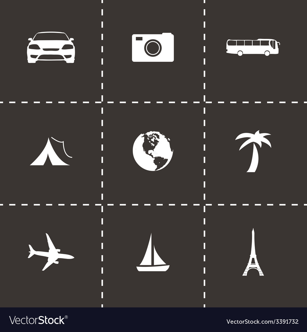 Black travel icons set vector | Price: 1 Credit (USD $1)