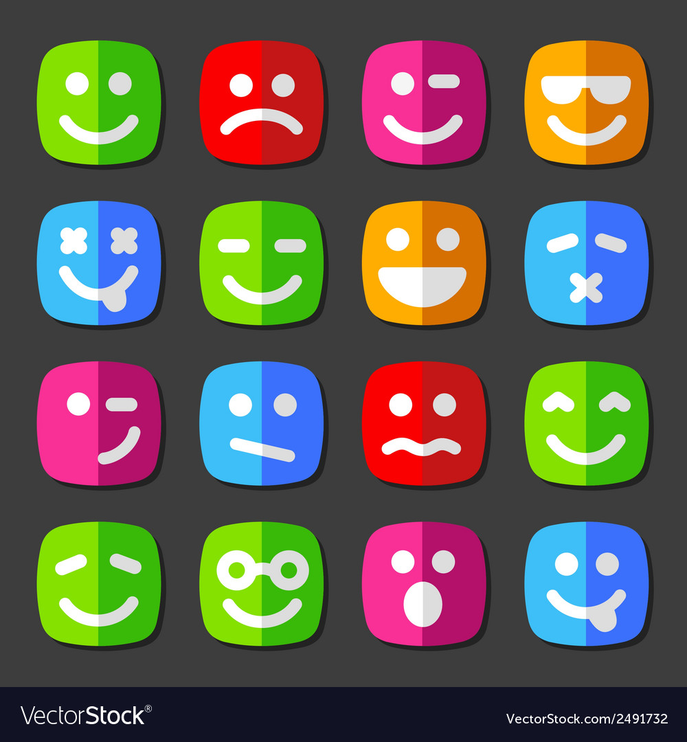 Flat emotion icons with smiley faces vector | Price: 1 Credit (USD $1)