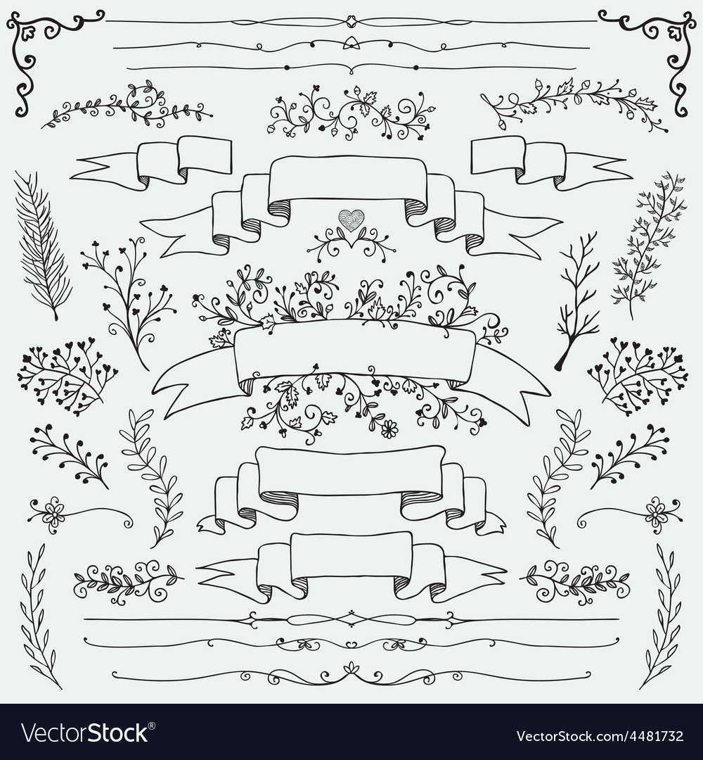 Hand drawn floral design elements vector | Price: 1 Credit (USD $1)