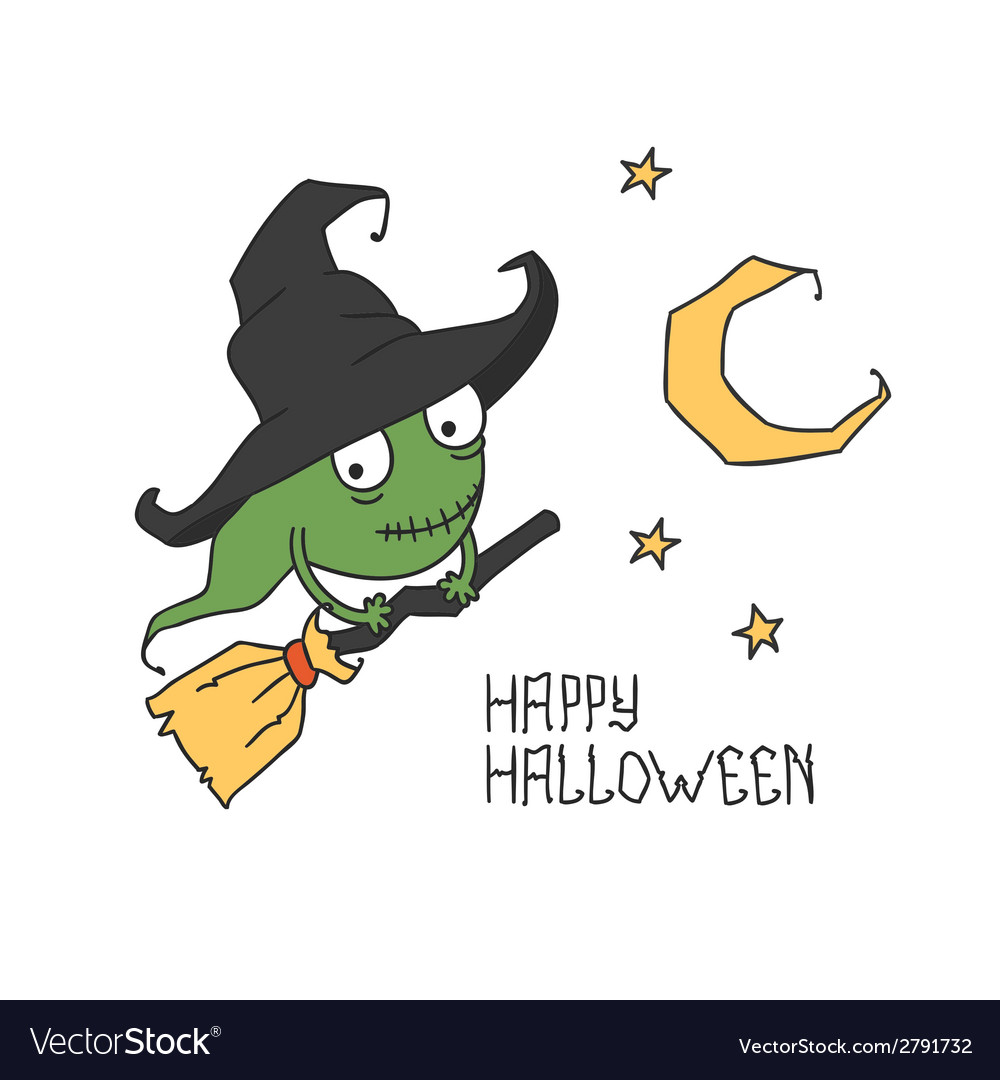 Happy halloween witch on a broomstick trick or vector | Price: 1 Credit (USD $1)