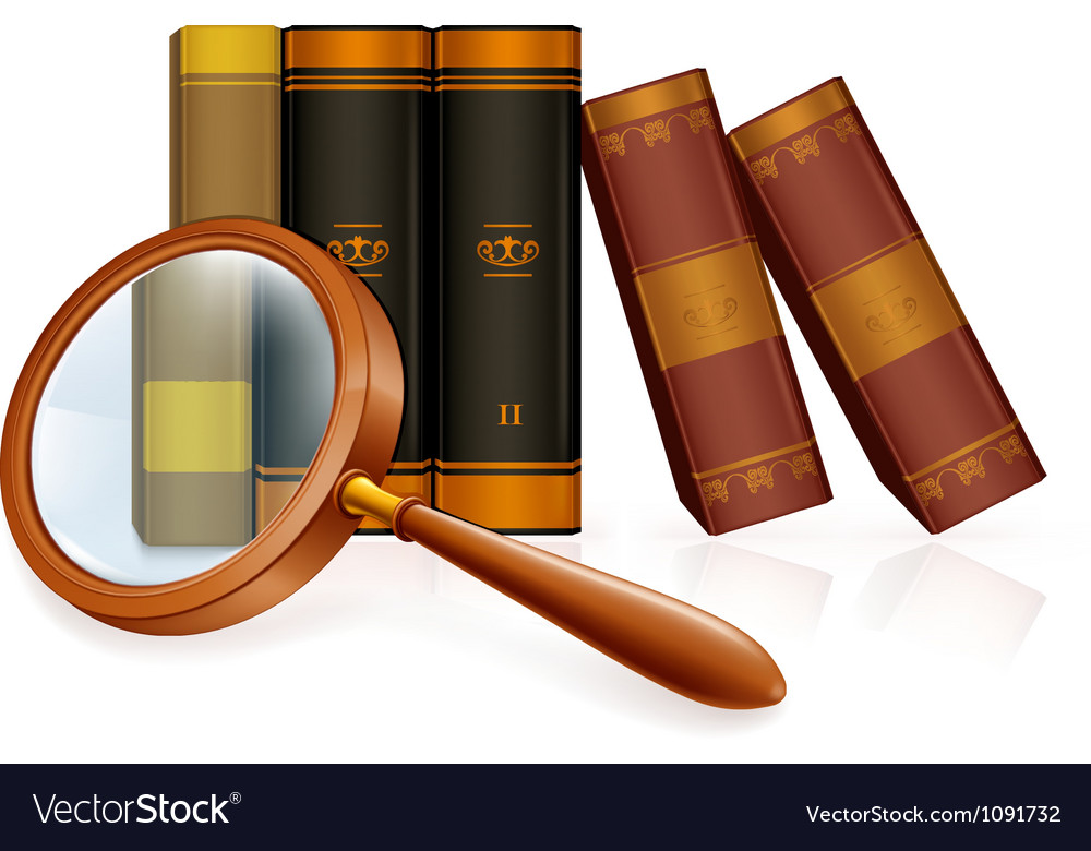 Magnifying glass and books vector | Price: 1 Credit (USD $1)